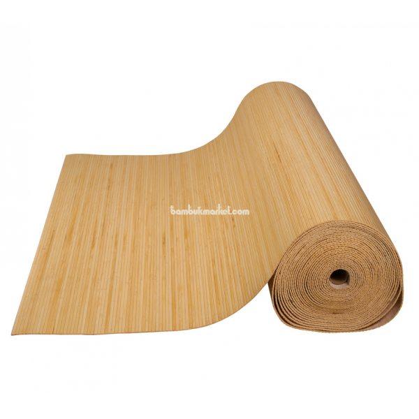 Бамбуковые обои,10х1,5м, светлые,нелак.,полоса 5мм