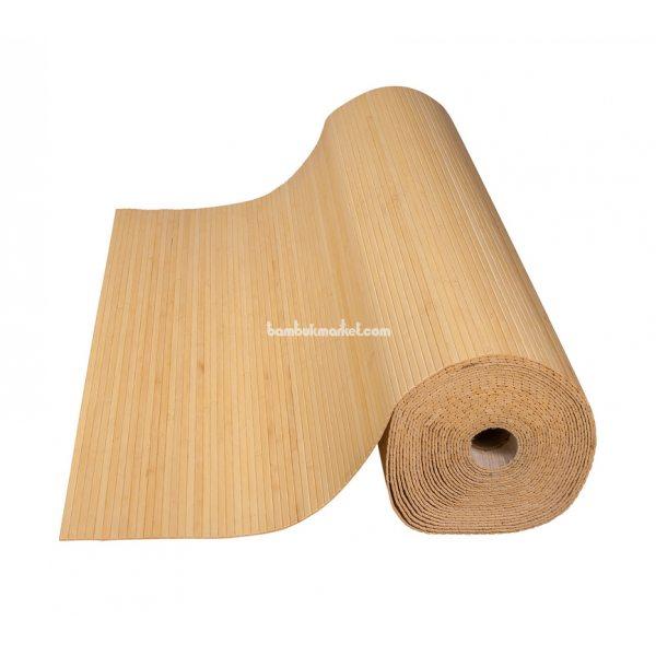 Бамбуковые обои,10х1,5м, светлые,нелак.,полоса 8мм