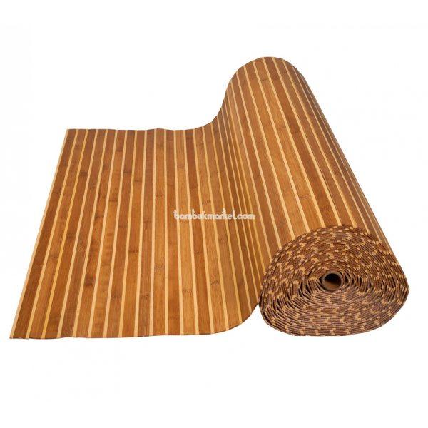 Бамбуковые обои,10х1,5м, темно/светлые,нелак.,полоса 17/5мм