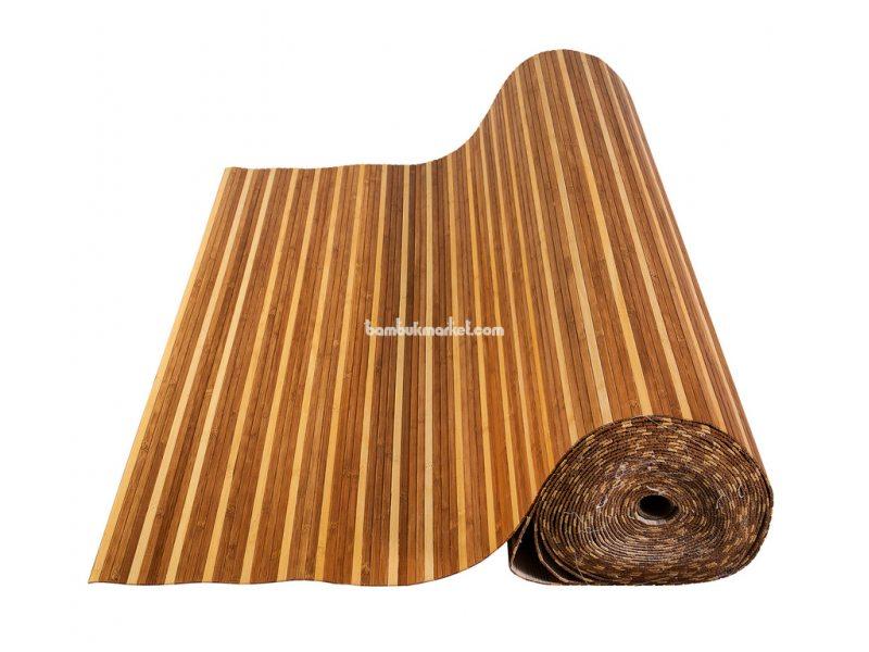Бамбуковые обои,10х0,9м, темно/светлые,нелак.,полоса 8мм – фото 1