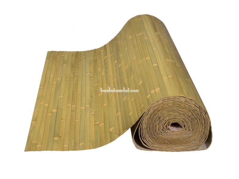 Бамбуковые обои,10х0,9м, бледно-зеленые,нелак.,полоса 17мм – фото 1