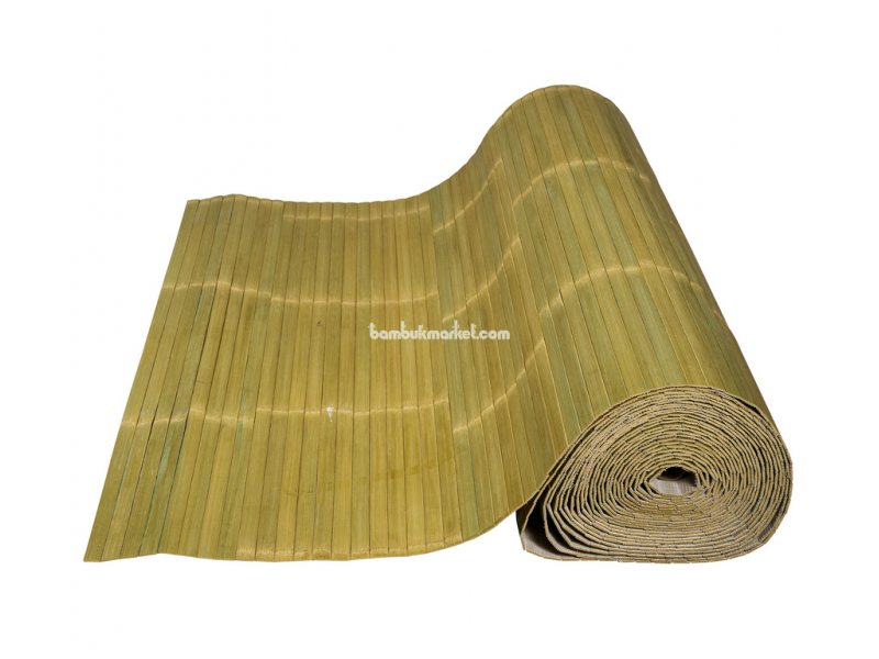 Бамбуковые обои,10х0,9м, бледно-зеленые,лак.,мат.,полоса 17мм – фото 1