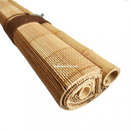 Жалюзи из бамбука, 1,4х1,6м., светло/коричневые,п.5мм, с коричневой строчкой, С2 - фото 1