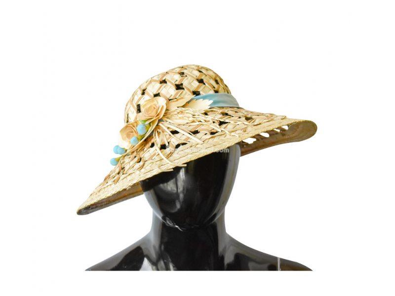 Соломенная шляпа с голубой лентой – фото 3